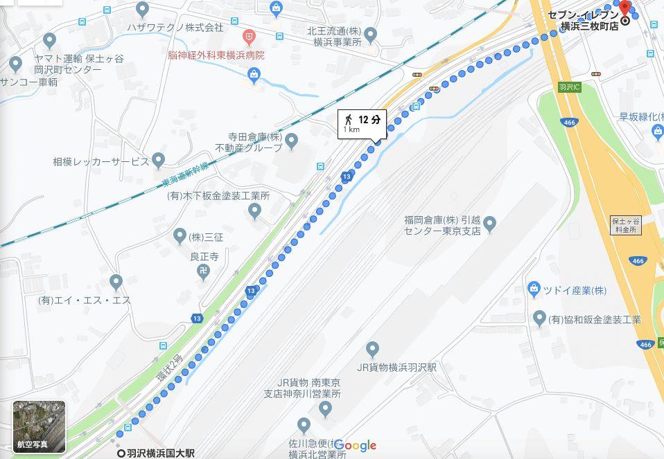 羽沢横浜国大駅から最寄りのコンビニまでの地図