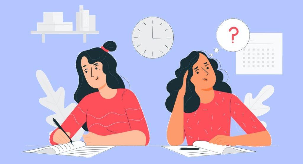 勉強する人と悩む人