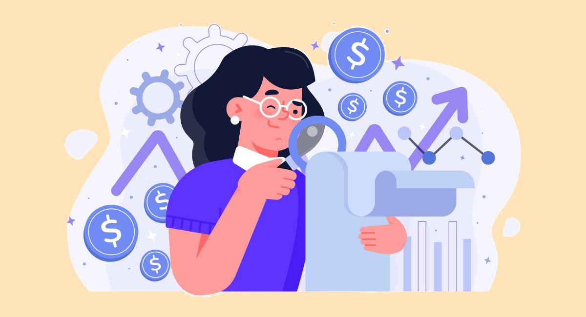 金融の紙を見る女性のイラスト