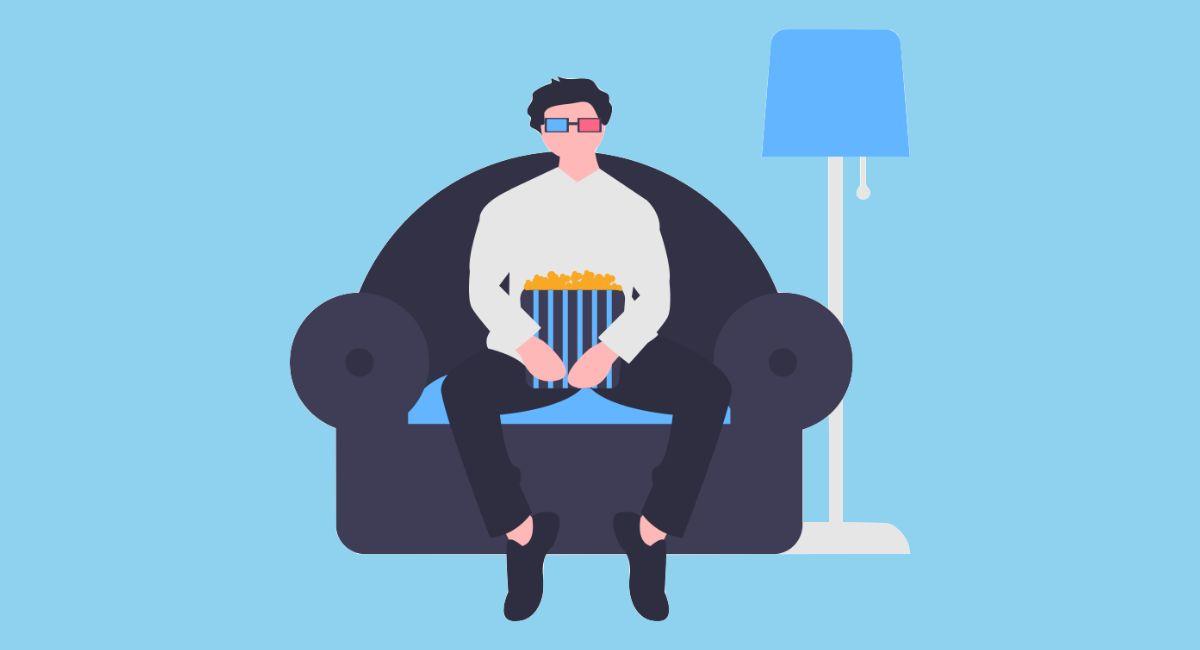 映画を見ている人のイラスト