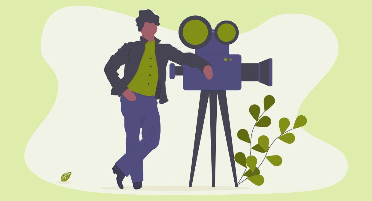 動画を撮っている人のイラスト