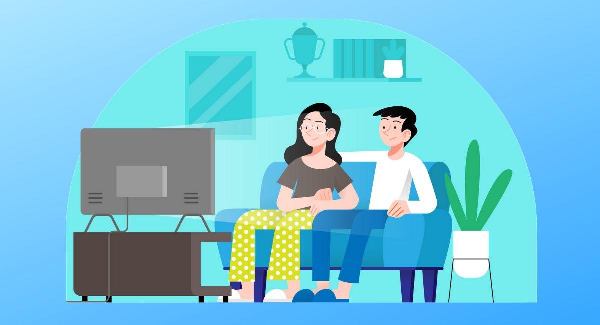部屋でテレビを見る男女のイラスト