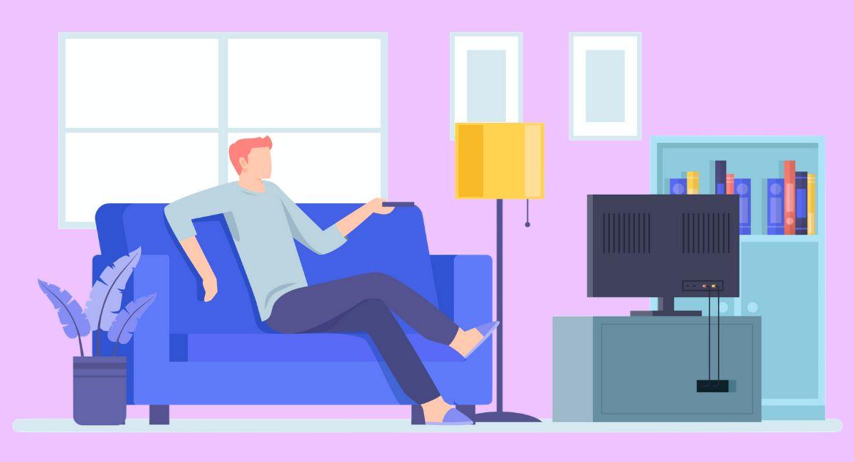 部屋でTVを見る男性のイラスト