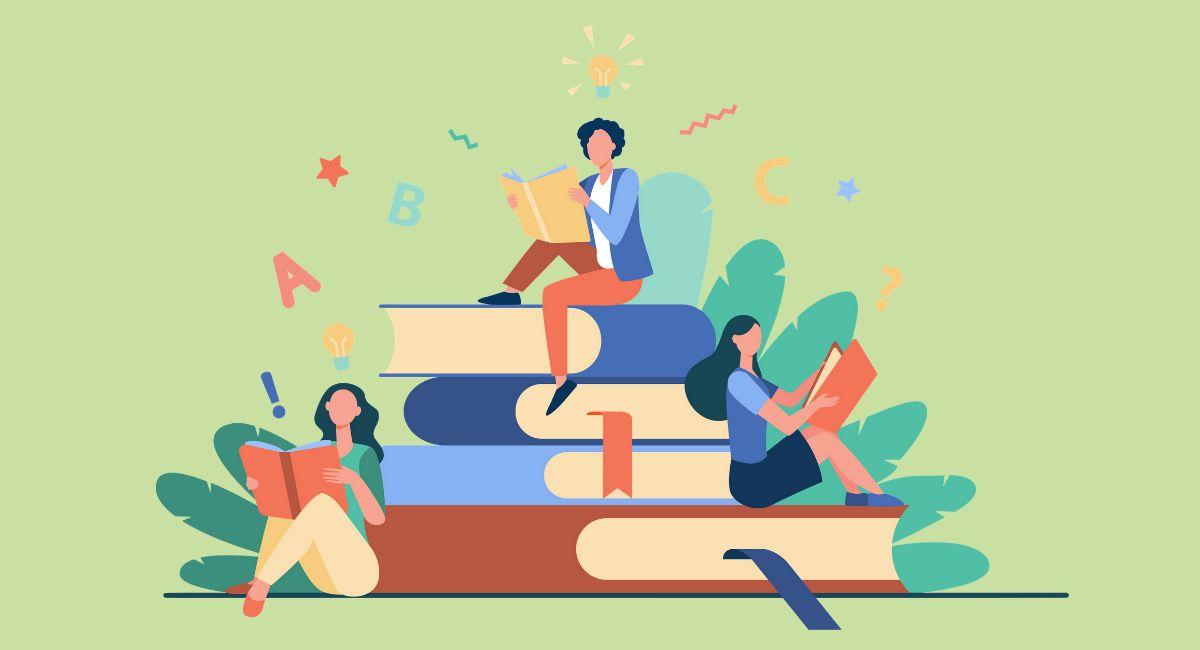 本を読んでいる人のイラスト