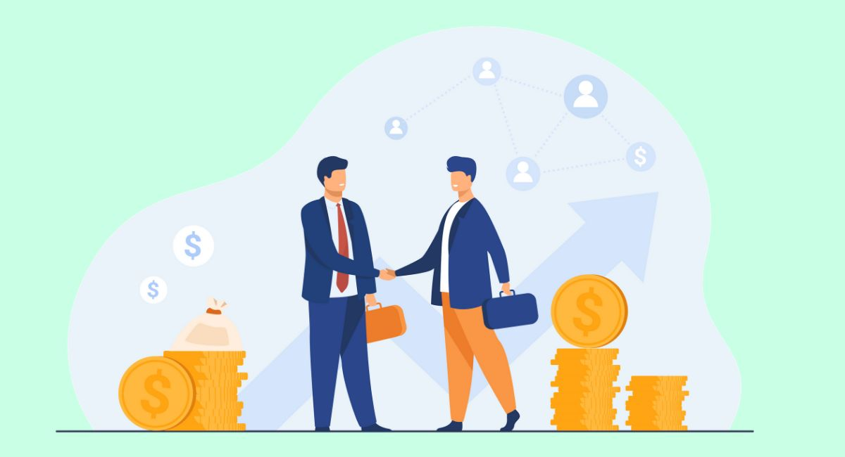 ビジネスで握手する画像